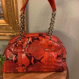 Cynthia Rowley rare studded red snake embossed bag